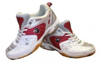 omega pro white silver red badmintonshoe